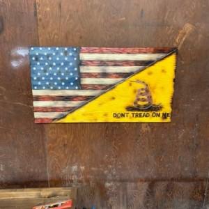 Wooden Split Gadsden Flag