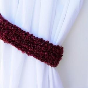 One Pair of Dark Wine Red Curtain Tiebacks, Burgundy Curtain Tie Backs, Drapery Drapes Holders, Soft Crochet Knit, Ready to Ship in 3 Days