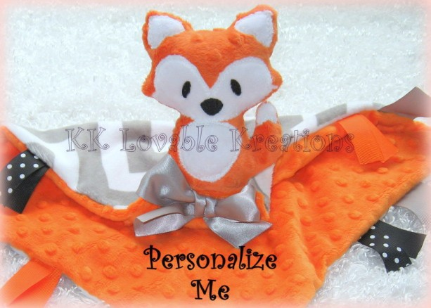 Personalized Minky Fox Lovey, Unique Baby Gift