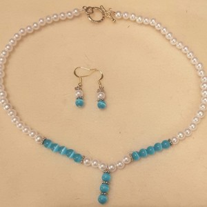 Turquoise & Pearl Pendant Choker and Matching Dangle Earrings