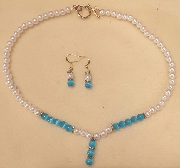 Turquoise & Pearl Pendant Choker and Matching Dangle Earrings