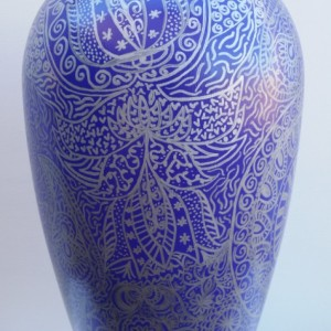 Vase with Beautiful Silver Hand-Drawn Designs