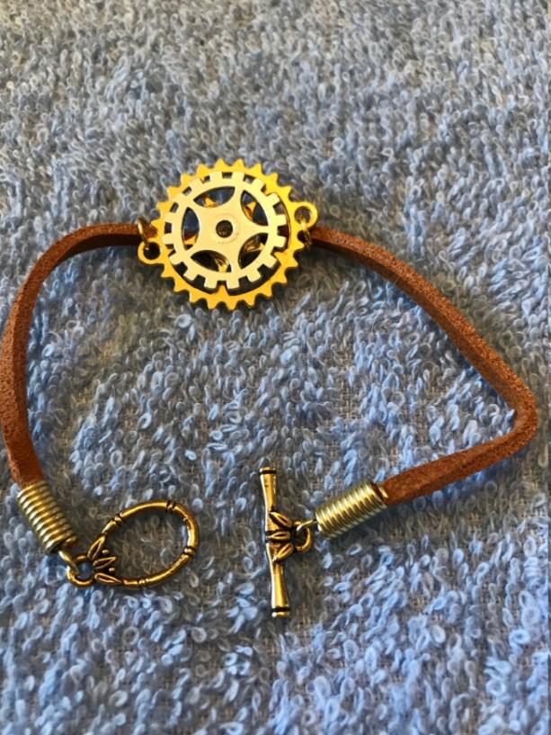 "All Geared Up handmade bracelet 7.25"" long"