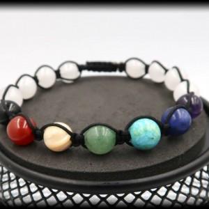 Moonstone Chakra Macrame Beaded Bracelet for Wisdom and Logic