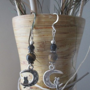cat and half moon earrings