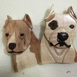 Intarsia pitbulls
