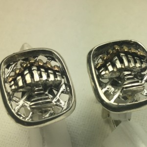 10K Gold flamed sterling silver Menorah cuff links
