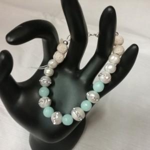 Freshwater Pearl & Aqua Agate Gemstone w/Lava Stone Diffuser Bracelet