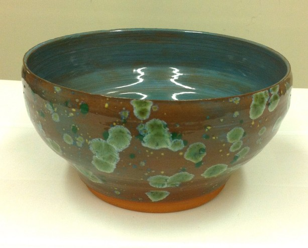 Delicate Wheel Thrown Copper Lichen Serving Bowl