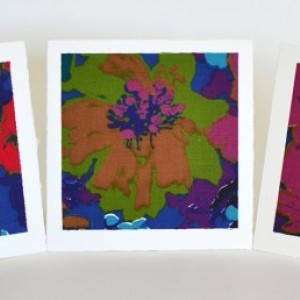 Floral stationery set -- 3 handmade blank greeting cards, vintage fabric