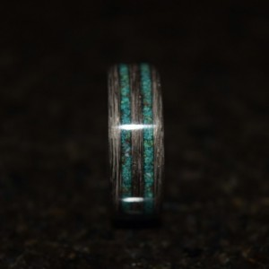 Ready to ship size 12 (Bentwood Method) Gray Maple with Crysicola Double Inlay Wooden Ring
