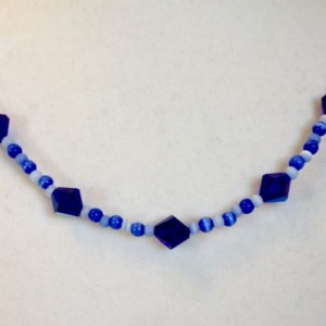 Blue Crystal and Cat's Eye Beaded Necklace, Cobalt Blue 19 Inch Single Strand Handmade Necklace, AB Coated Glass Crystal Beads, Woman's Gift