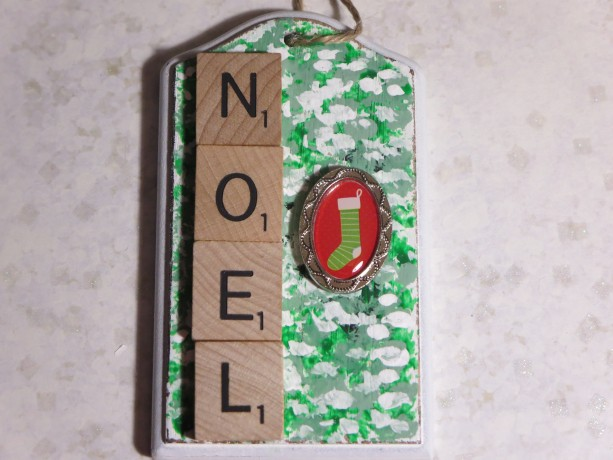 Scrabble® Game Tile Christmas Ornament (FREE SHIPPING!) Noel Green