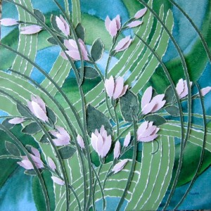 Torn Paper-Pink Lilies Collage, 12 X 12