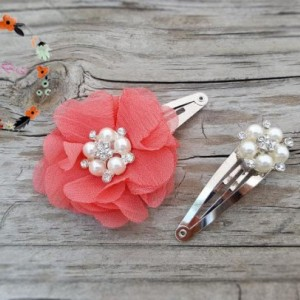 Set of 3 - Autumn White Wool Felt Flower Headband, Coral Snap Clip, Pearl Snap Clip