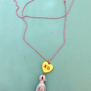 Upcycled Valentines Day XO Conversation Heart Toy with Blue Tassel Necklace - Heart Jewelry