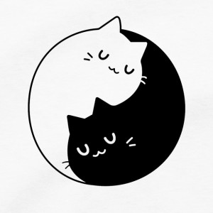 Yin Yang Cats Men's T Shirt, Kitty Kitten Purring Purrfect Meow Unisex Cotton Tee Shirt