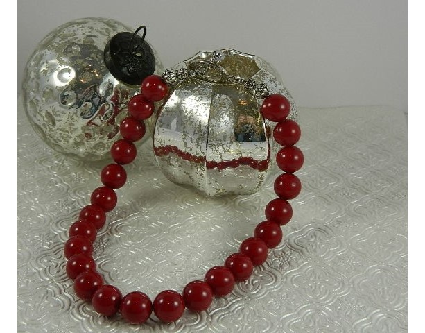 Bright Cherry Red Shell Pearl Bead Necklace