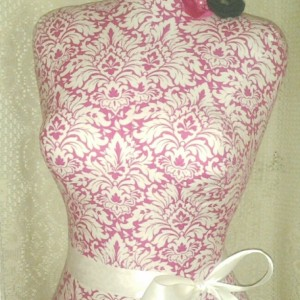 Pink Damask decorative dress form, life size tutu apron display torso.