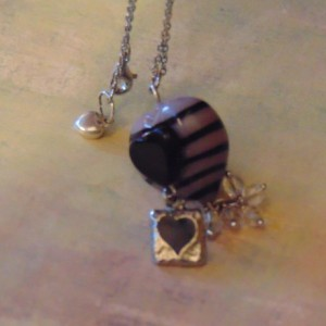 Light Purple Black Striped Lampwork Pendant Bead Silver Back Heart Charm Clear Bead Tassel Silver Toned Chain Necklace