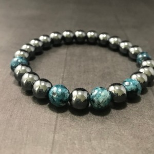 The Turner | handmade beaded stretch bracelet, hematite, deep blue green speckled jade beads, men's / unisex jewelry, Gifts for Him