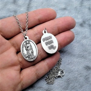 Personalized Saint Agatha Necklace. Patron Saint of Breast Cancer Patients and Survivors
