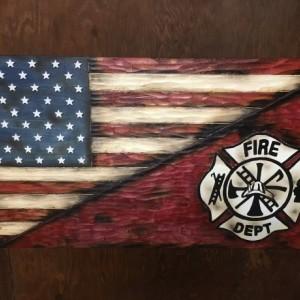 Spilt American Flag and Firemen's Cross