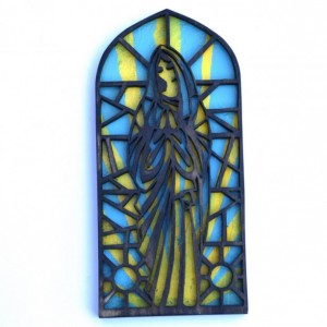 Wood Virgin Mary Wall Hanging Stained Glass