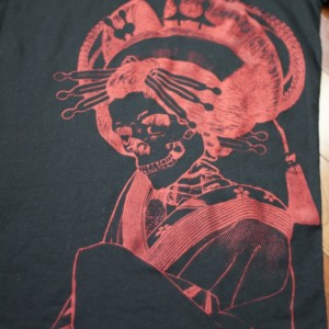 Japanese Skeleton Oiran Summer T-Shirt, Black, Screen Printed, Loose Crew, Gifts for Him or Her, Made in USA, Last One