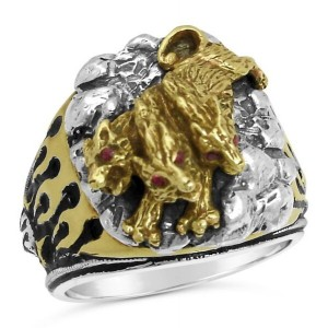 Cerebus Three Headed Hades Hellhound Guardian Ring Sterling silver Lge