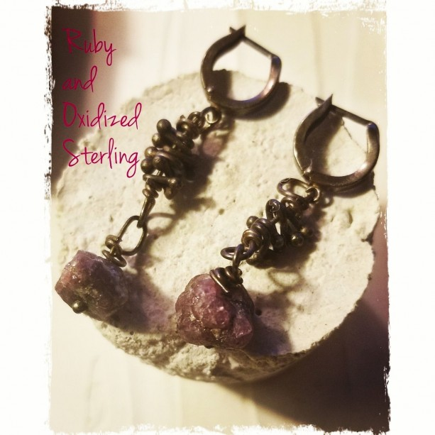 Natural Ruby and oxidized Sterling Silver Leverback earrings