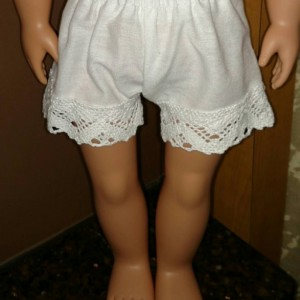 "Custom made, hand sewn pantaloons or bloomers and petticoat for 18"" doll (AG, OG, etc.) clothes"