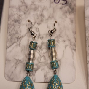 Green and yellow bead with silver accent earrings