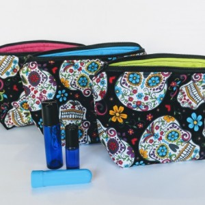Sugar Skull Essential Oil Bag, Roller ball Bag, Essential Oil Case, Rollerball Case, Essential Oil Travel, Oil Pouch
