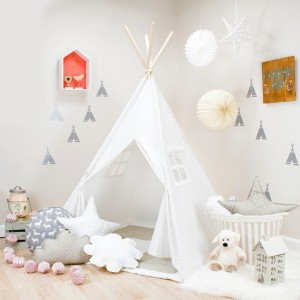 White with Gray Mini Stars Kids Teepee Set