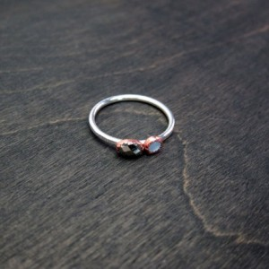 Ready to Ship  Size 8.5 Mixed Metal Recycled Sterling Silver and Copper Two Stone Mother of Pearl and Hematite Ring