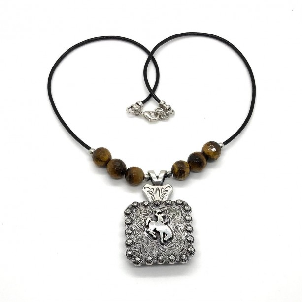 Western Bucking Bronc Concho Necklace with Round Tiger Eye 10MM Faceted Stones.