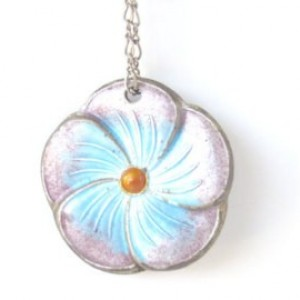 Pastel Pink and Blue Elegant Flower Pendant Gemstone Necklace