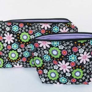 Large  Organizer Bags, Travel Bags, Travel Case, Zipper Bag, Flower Bag, Gift under 20