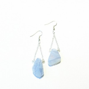 Blue Gemstone and Chain Earrings