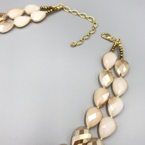 Chunky Champagne Statement Necklace, Chunky Necklace, Cream Peach Beaded Necklace, MultiStrand Necklace, Chunky Statement Champagne Necklace