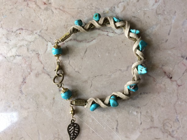 Beige leather/Bronze wire crochet chain bracelet,with turquoise beads and leaf charm. #B00248