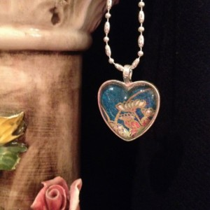 """Papers"" Chiyogami 106 Silver Heart Pendant"
