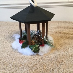 Winter birdhouse gazebo decoration