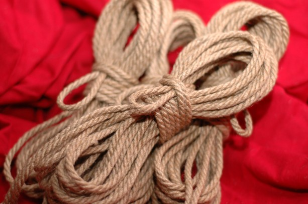 Four 8m lengths of 4mm Hand Crafted Tossa Jute Rope