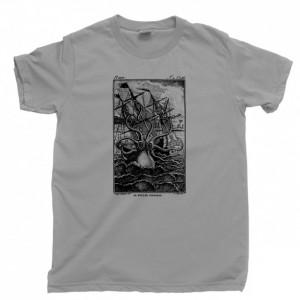 Kraken Attack Men's T Shirt, Giant Squid Octopus Shark Attack Davy Jones Ship Ocean Sea Monster Unisex Cotton Tee Shirt