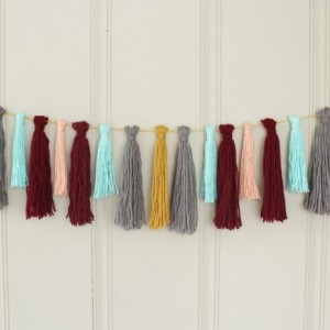 Yarn Tassel Garland No. 6 in Saffron, Grey, Pastel Blue, Wine, and Peach - Wall Hanging - Party Decor - Photo Prop -  Ready to Ship
