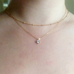 floating diamond necklace, tiny gold solitaire necklace, solitaire layering necklace, cz diamond layering necklace, cz diamond layering set