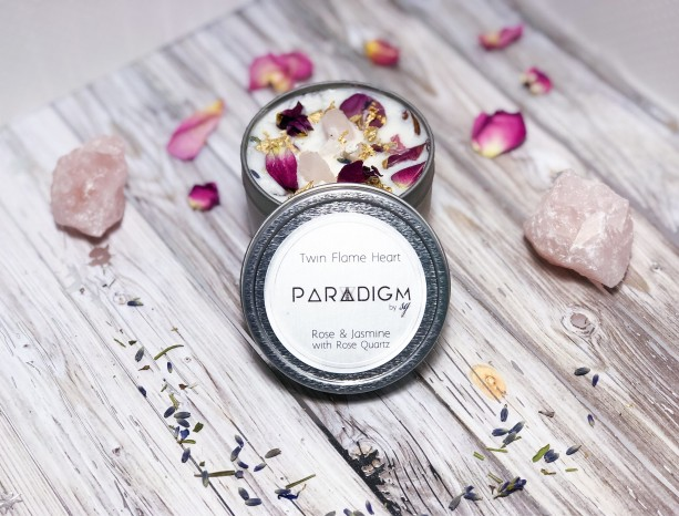 Twin Flame  Candle with Rose Quartz 100% Soy Wax, Rose and Jasmine Oils