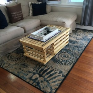 10 COATS of Polyurethane. Wooden Lobster Trap Coffee Table Made in USA